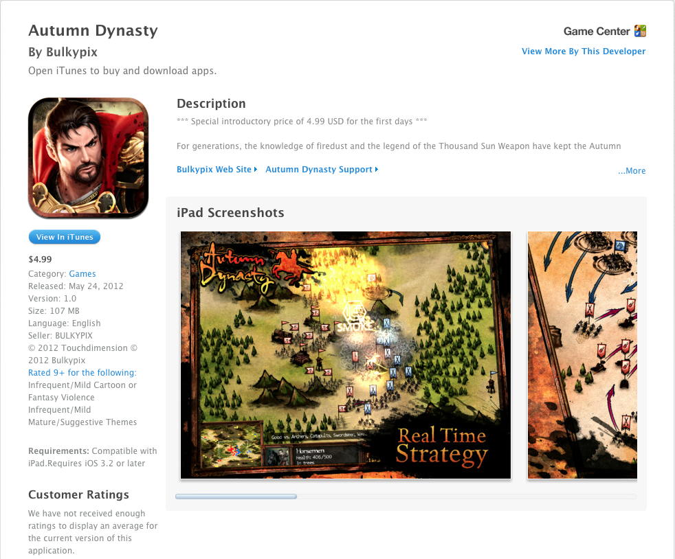 Autumn Dynasty iPad Real Time Strategy Game (RTS)